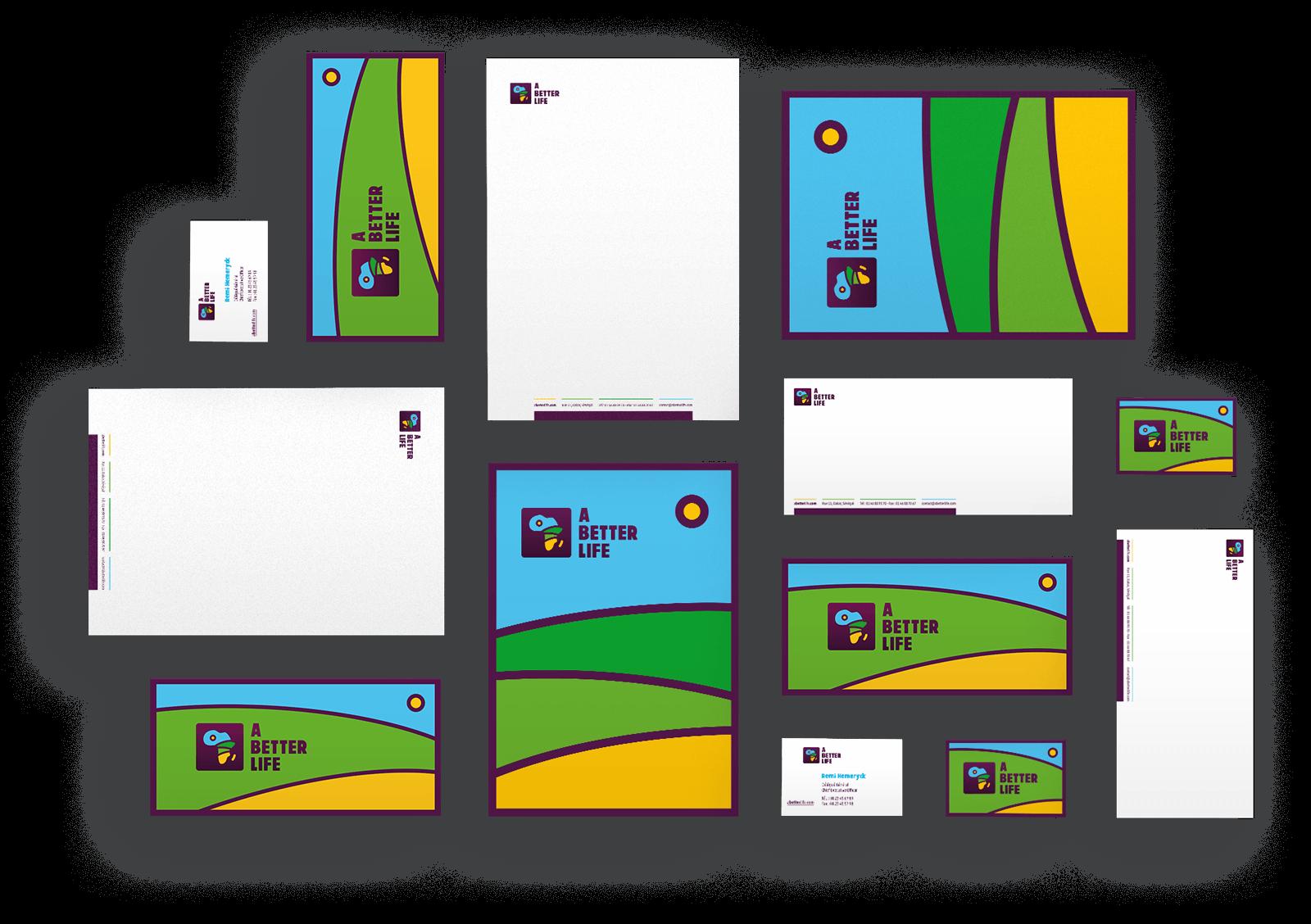 benjamin lecoq-graphiste-directeur-artistique-paris clichy-logo identité visuelle guideline-a better life-association sos-sahel-papeterie