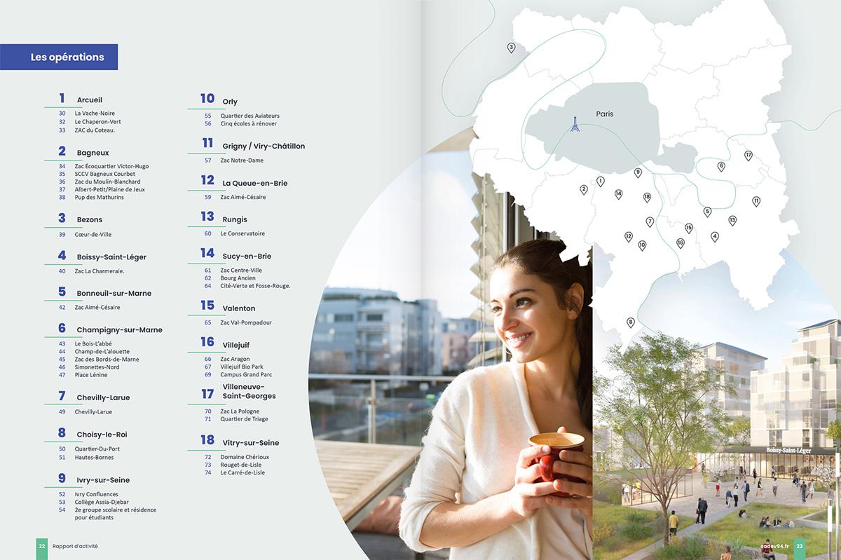benjamin lecoq - graphiste paris - communication financière - print rapport annuel - sadev94 - carte des projets