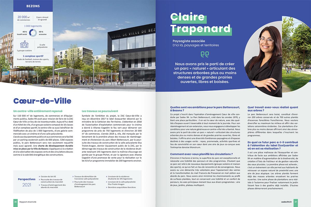 benjamin lecoq - graphiste paris - communication financière - print rapport annuel - sadev94 - page projet