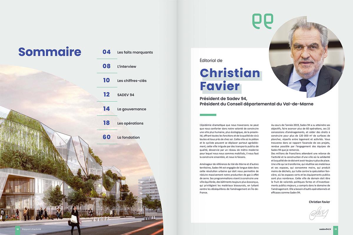 benjamin lecoq - graphiste paris - communication financière - print rapport annuel - sadev94 - sommaire édito