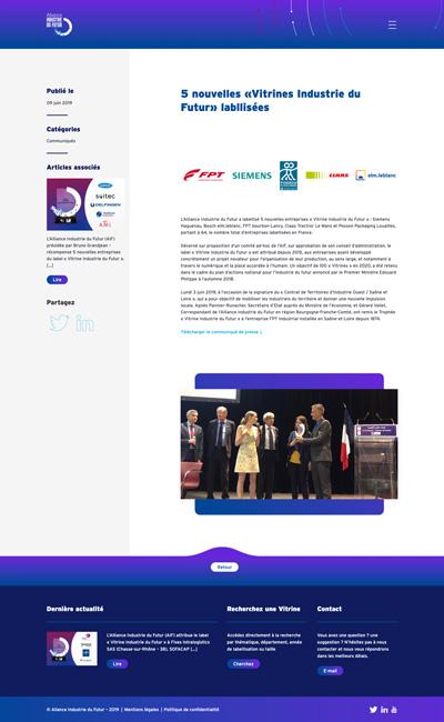 benjamin lecoq - graphiste paris - logo, identité graphique, branding, site web, motion, publicité - alliance industrie du futur - site des vitrines actu 2
