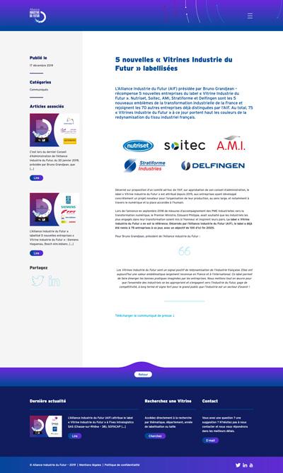 benjamin lecoq - graphiste paris - logo, identité graphique, branding, site web, motion, publicité - alliance industrie du futur - site des vitrines actu 1