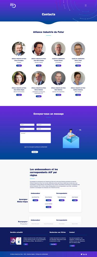 benjamin lecoq - graphiste paris - logo, identité graphique, branding, site web, motion, publicité - alliance industrie du futur - site des vitrines page client contacts