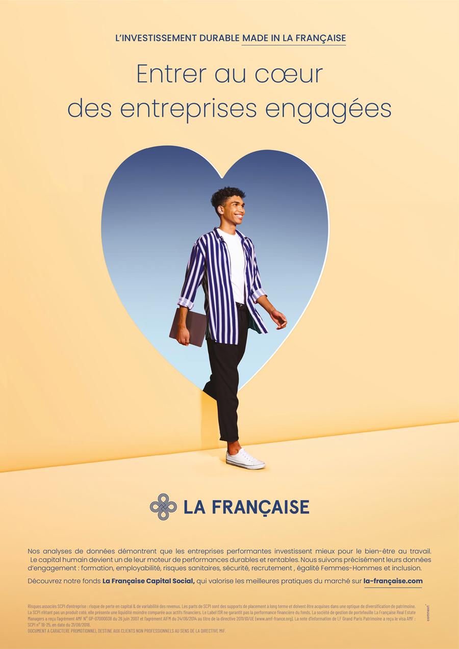benjamin lecoq-graphiste - directeur artistique - paris -publicité site motion logo identité - groupe la française - campagne investissement durable - annonce capital humain / Social