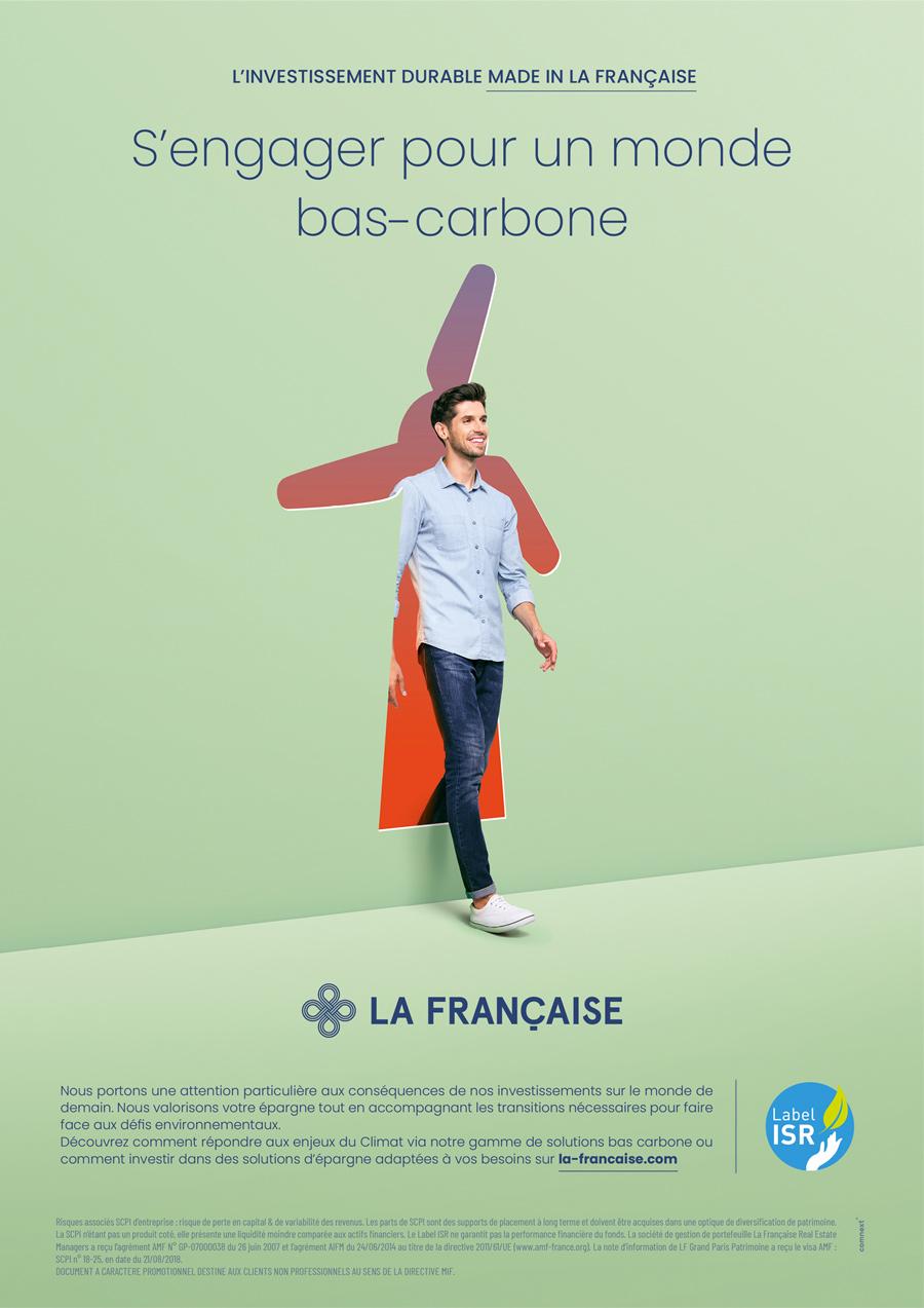 benjamin lecoq-graphiste - directeur artistique - paris -publicité site motion logo identité - groupe la française - campagne investissement durable - annonce bas carbonne