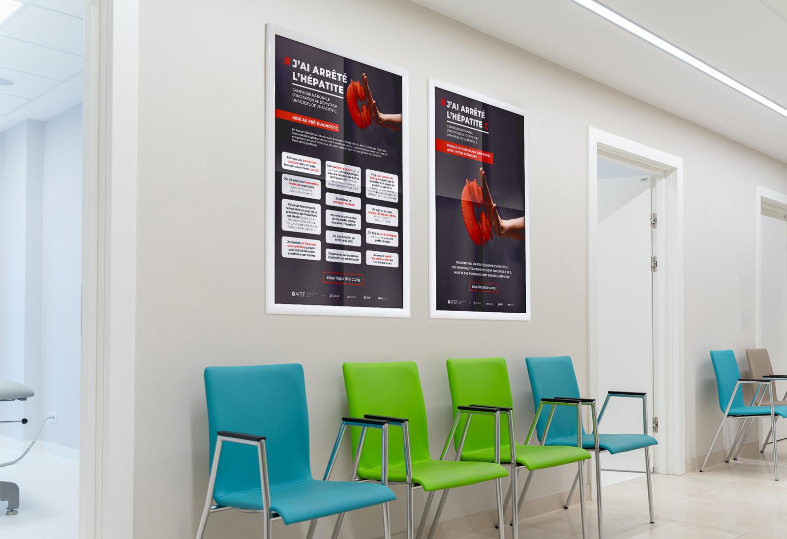 benjamin lecoq - graphiste paris - communication médicale - publicité, site internet, motion - campagne nationale sensibilisation incitation dépistage hépatiteC - association AFEF - affiche prévention médecin