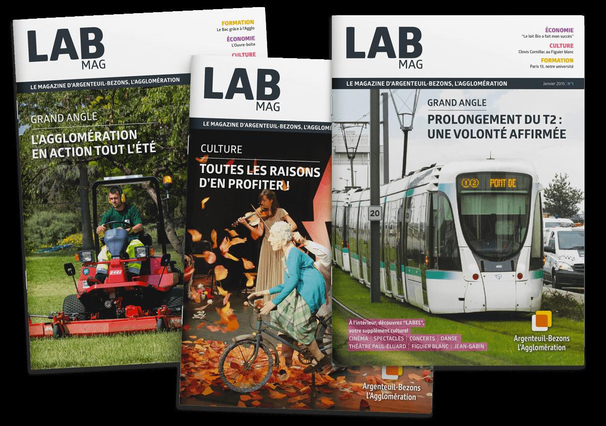benjamin lecoq - graphiste paris - site logo identité graphique print - communication publique - LAB mag - magazine mensuel agglomération argenteuil bezons couvertures