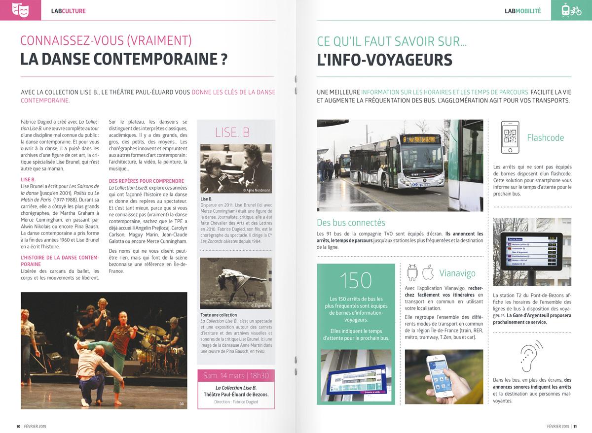 benjamin lecoq - graphiste paris - site logo identité graphique print - communication publique - LAB mag - magazine mensuel agglomération argenteuil bezons doubles pages