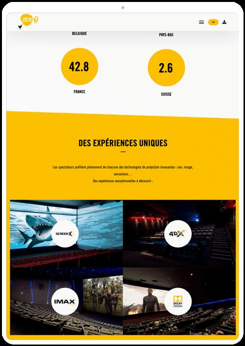 benjamin lecoq graphiste paris et clichy - logo, identité visuelle, print, site web du rapport annuel du groupe pathé - les technologies - Screenx, 4dx, imax,