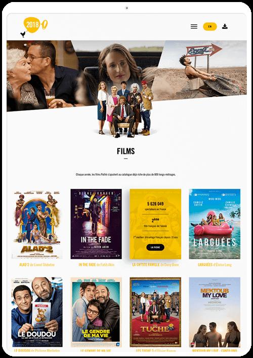 benjamin lecoq graphiste paris et clichy - logo, identité visuelle, print, site web du rapport annuel du groupe pathé - les films