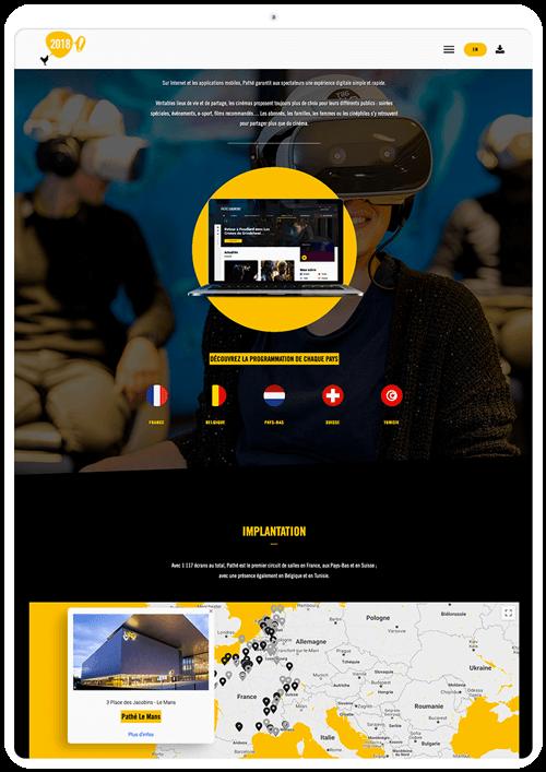 benjamin lecoq graphiste paris et clichy - logo, identité visuelle, print, site web du rapport annuel du groupe pathé - les cinémas