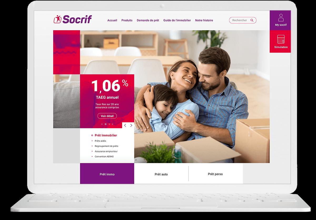 graphiste à paris et clichy - benjamin lecoq logo website socrif banque organisme de prêt de la sncf