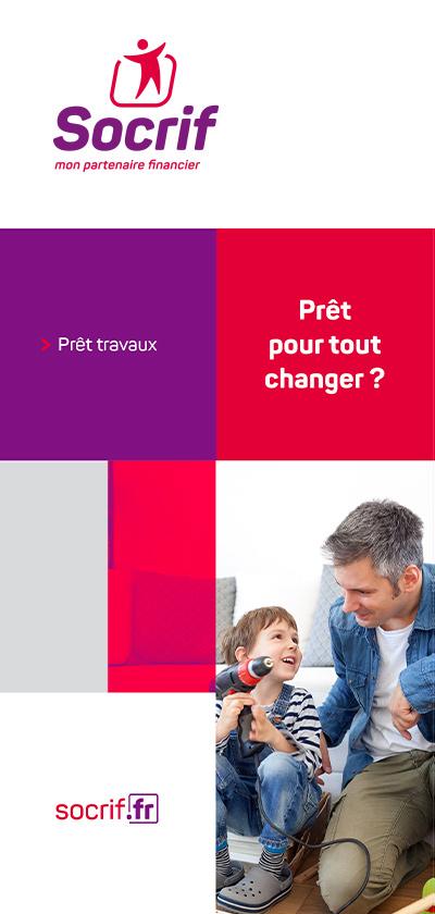 benjamin lecoq graphiste paris - logo identité visuelle de socrif organisme de prêt public sncf - leaflet travaux