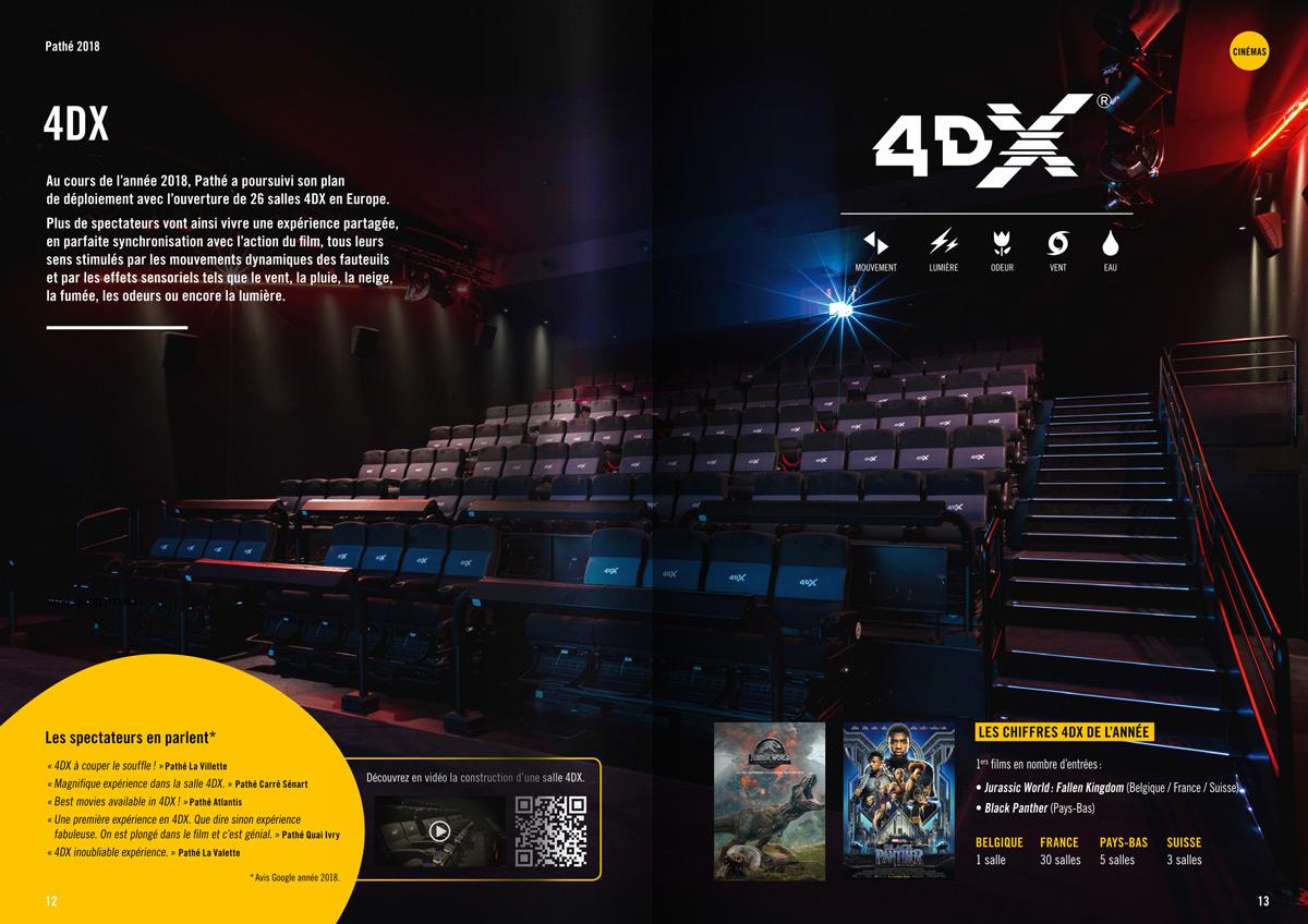 benjamin lecoq graphiste paris et clichy - logo, identité visuelle, print, site web - rapport annuel du groupe pathé - page technologie 4DX