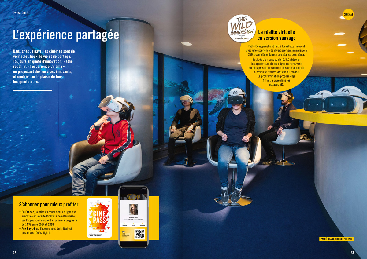 benjamin lecoq graphiste paris et clichy - logo, identité visuelle, print, site web - rapport annuel du groupe pathé - page expérience