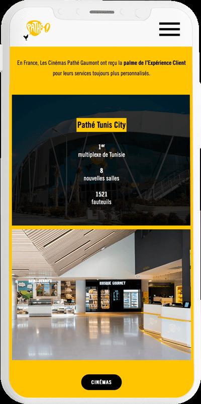 benjamin lecoq graphiste paris et clichy - logo, identité visuelle, print, site web du rapport annuel de pathé version mobile