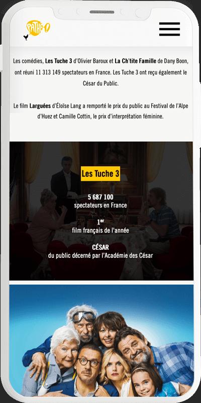 benjamin lecoq graphiste paris et clichy - logo, identité visuelle, print, site web du rapport annuel du groupe pathé version mobile