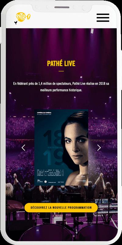 benjamin lecoq graphiste paris et clichy - logo, identité visuelle, print, site du rapport annuel de pathé live version mobile