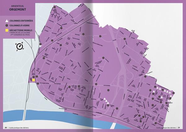 graphiste à paris clichy campagne de sensibilisation de propreté urbaine - plan des quartiers par benjamin lecoq