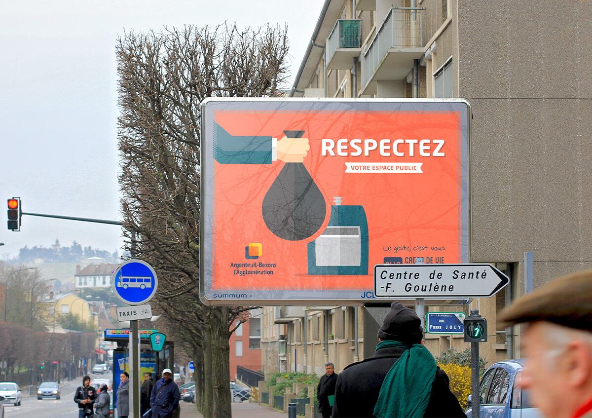 graphiste à paris clichy - communication publique - affiche publicité campagne propreté - 4x3 decaux - benjamin lecoq