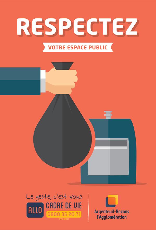 graphiste à paris clichy - communication publique - affiche publicité campagne propreté - dépôts sauvages - benjamin lecoq