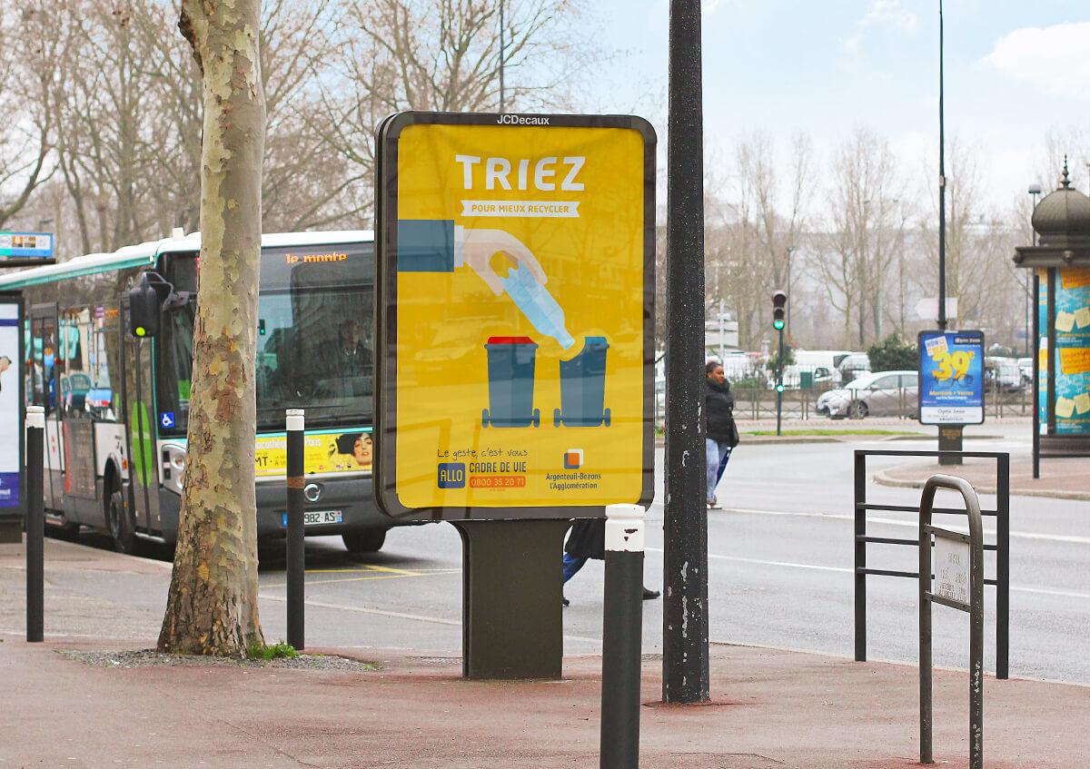 graphiste à paris clichy - communication publique - affiche publicité campagne propreté - tri selectif - benjamin lecoq