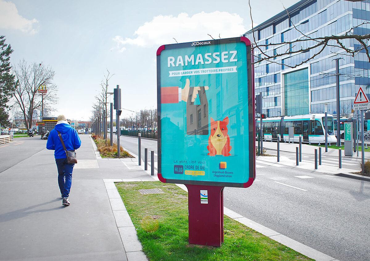 graphiste à paris clichy - communication publique - affiche publicité campagne propreté - crottes de chien - benjamin lecoq